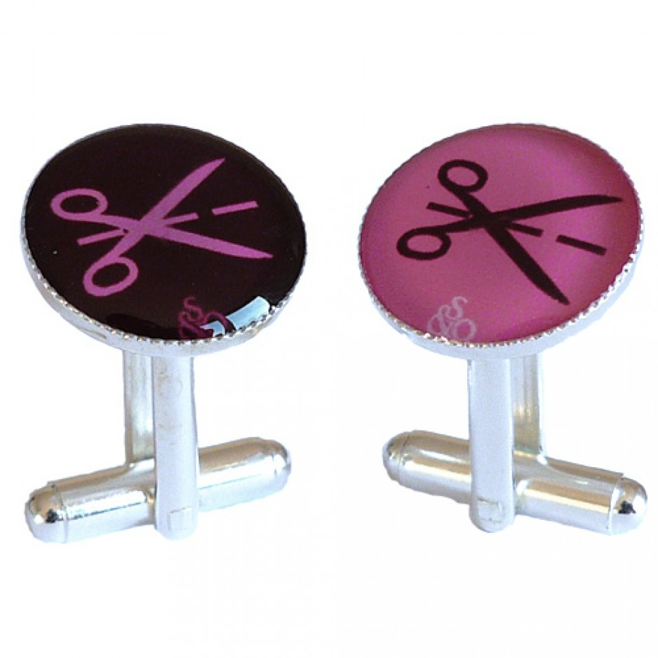 Cufflink Pink and Brown Scissors