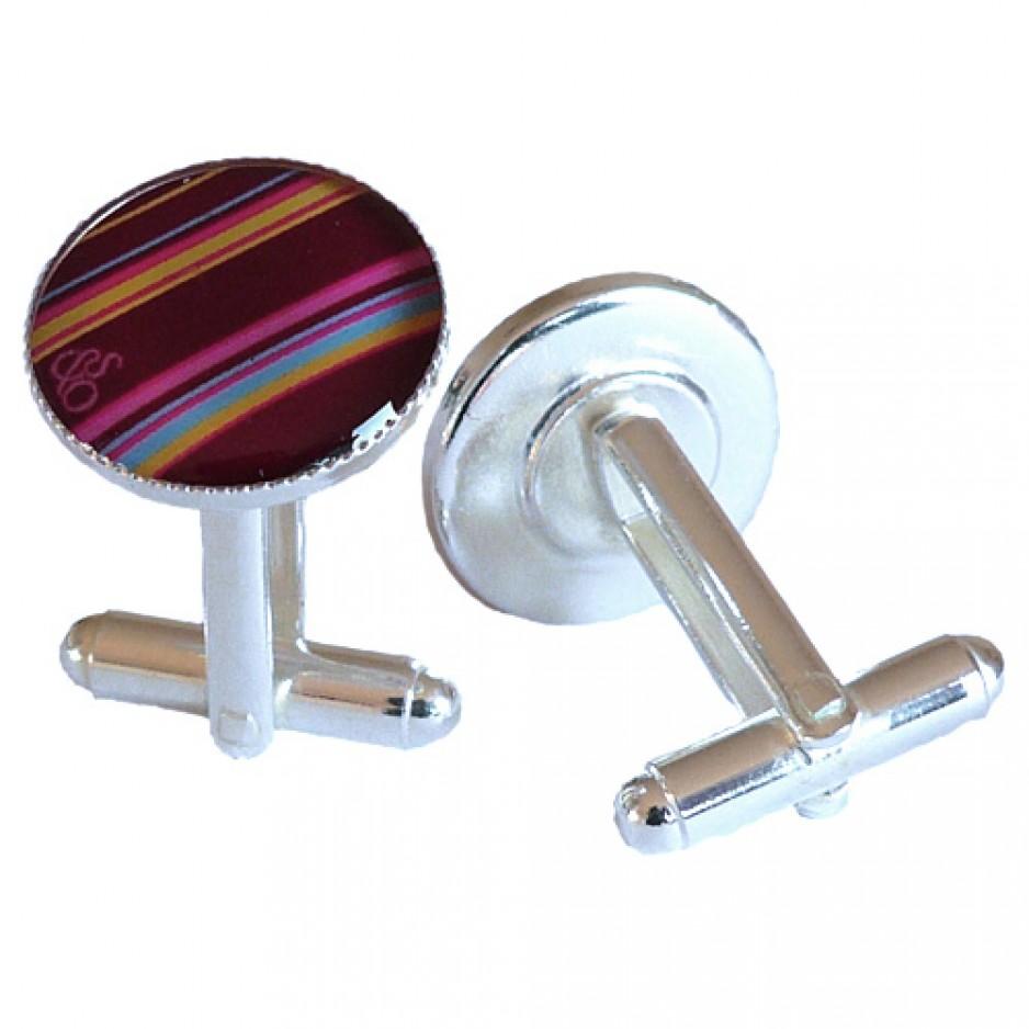 Cufflink Plum Multi Stripes