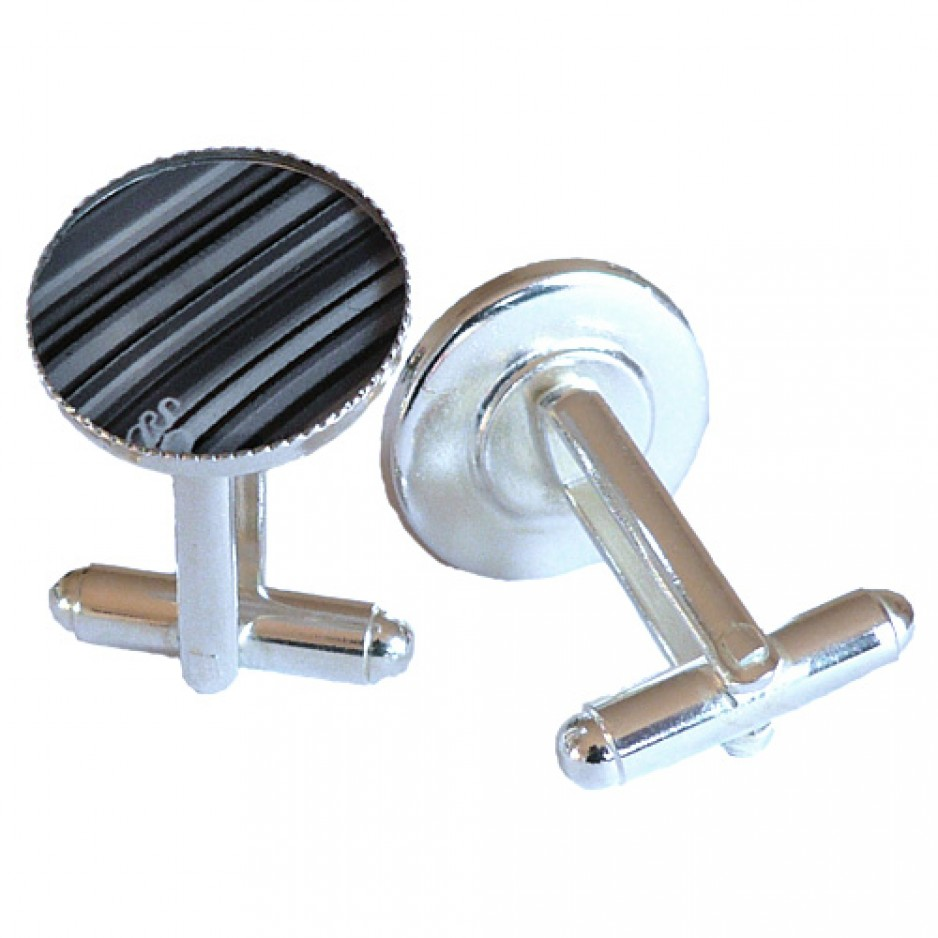 Cufflink Grey Stripes