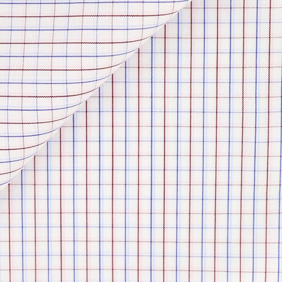 Poplin Check Pattern Blue Bordeaux