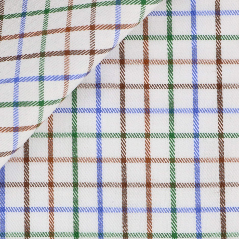 Twill Check Pattern Brown Green