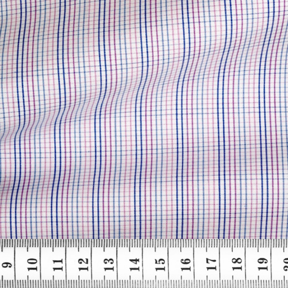 Poplin Check Pattern Blue Pink