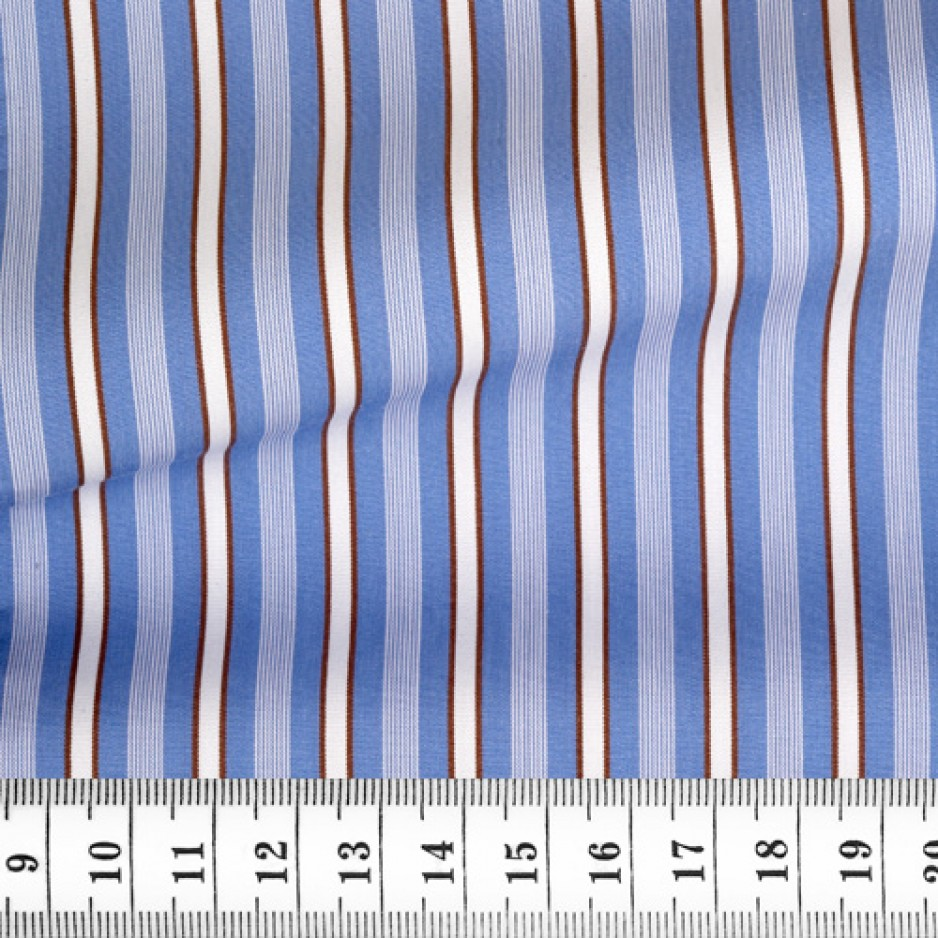 Poplin Stripes Blue Brown