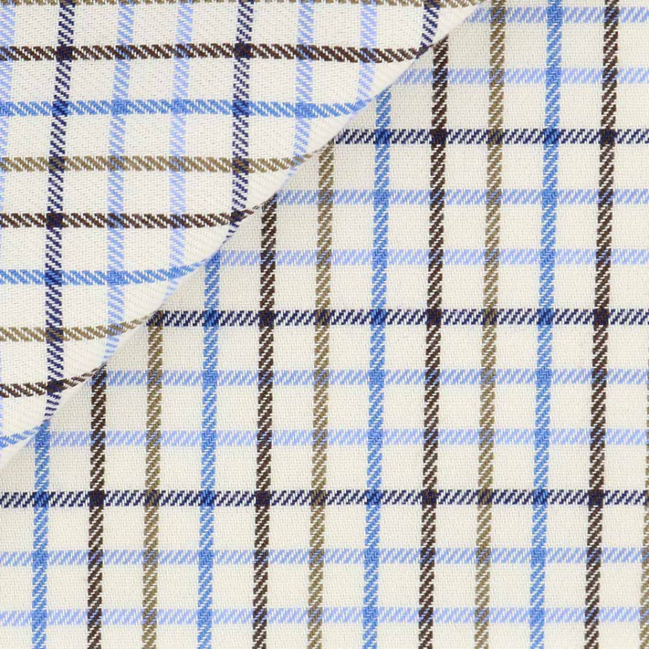 Twill Check Pattern Blue Brown