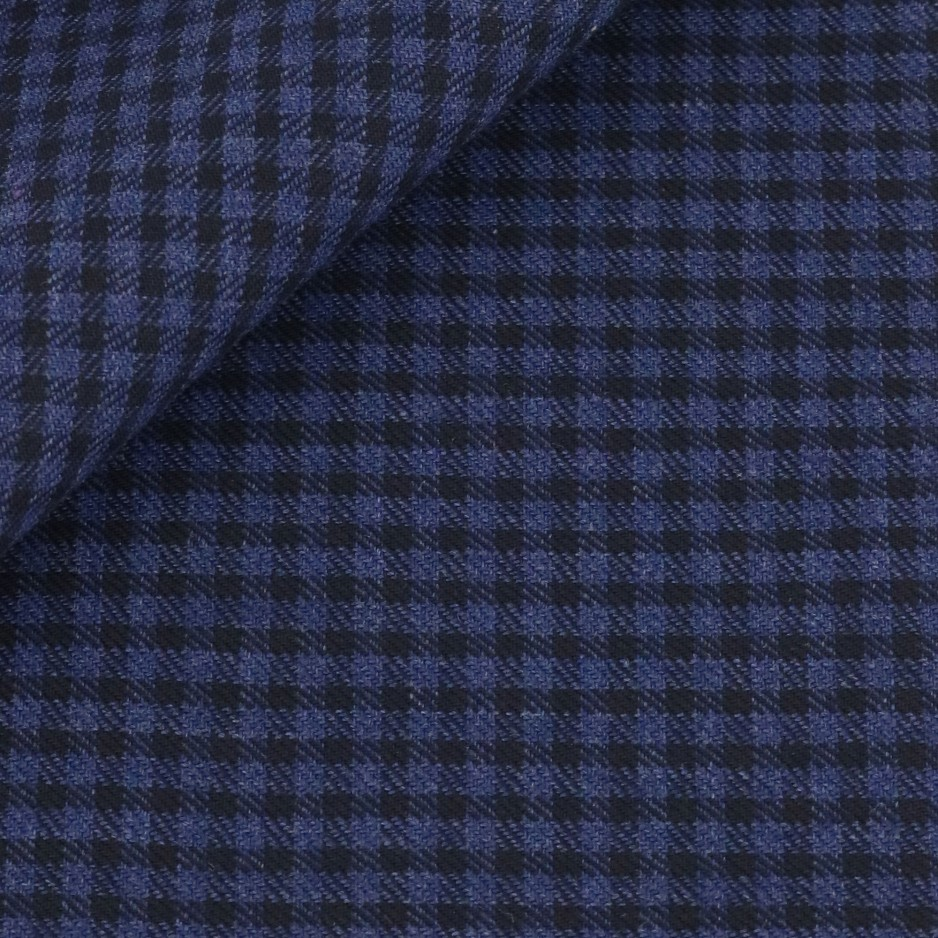 Twill Check Pattern Blue Black
