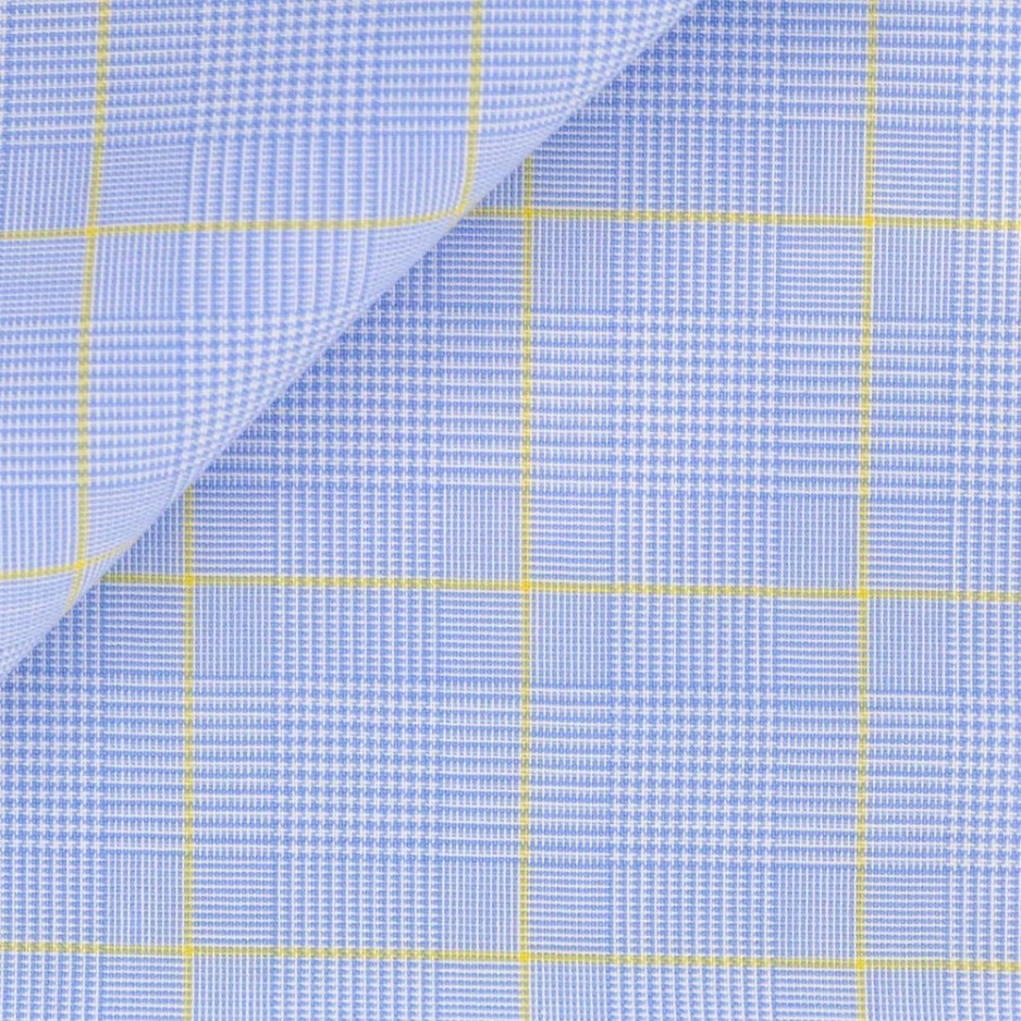 Poplin Check Pattern Blue Yellow