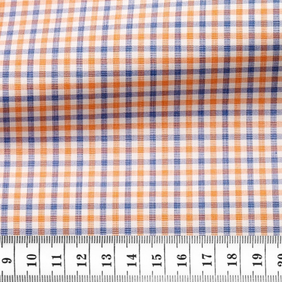 End on End Check Pattern Blue Orange