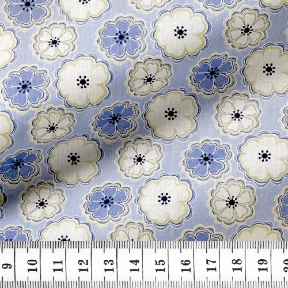 Poplin Pattern Blue Beige