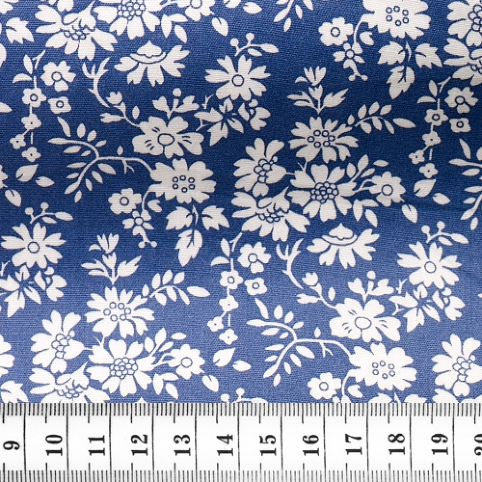 Poplin Pattern Blue White