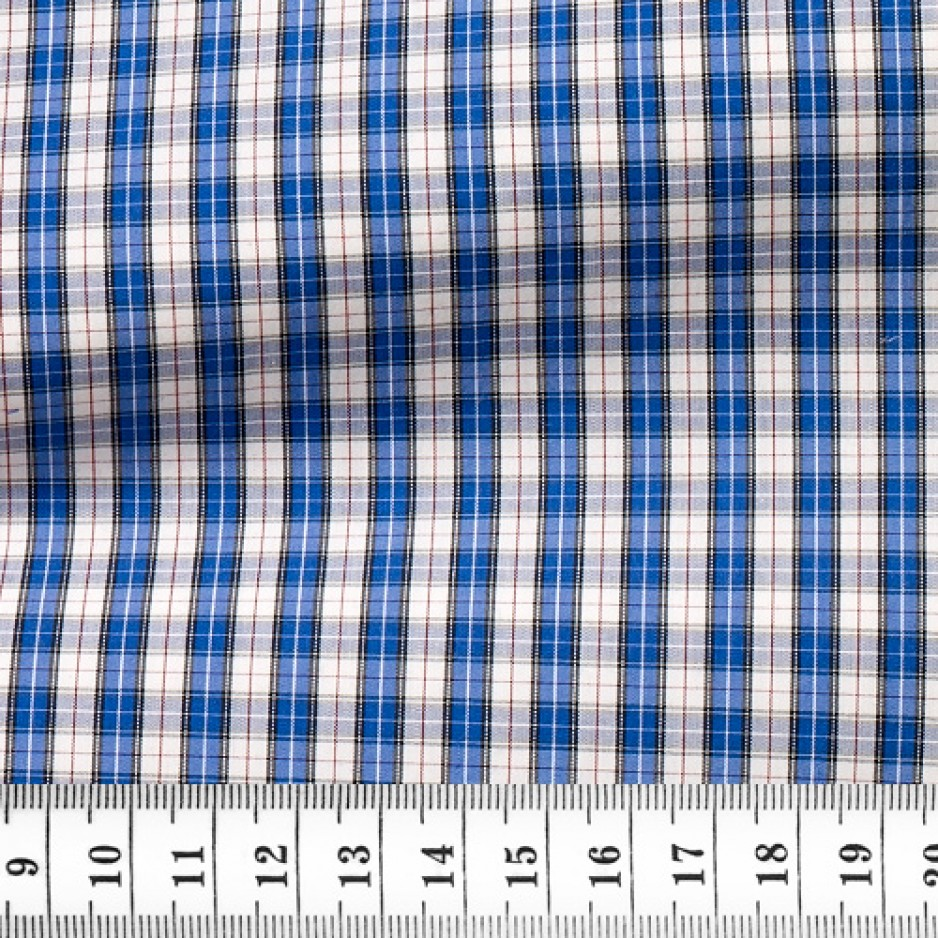 Poplin Check Pattern Blue White