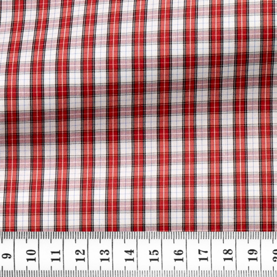 Poplin Check Pattern Red White