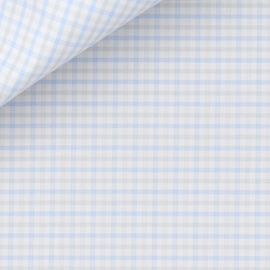 Twill Check Pattern Blue Grey