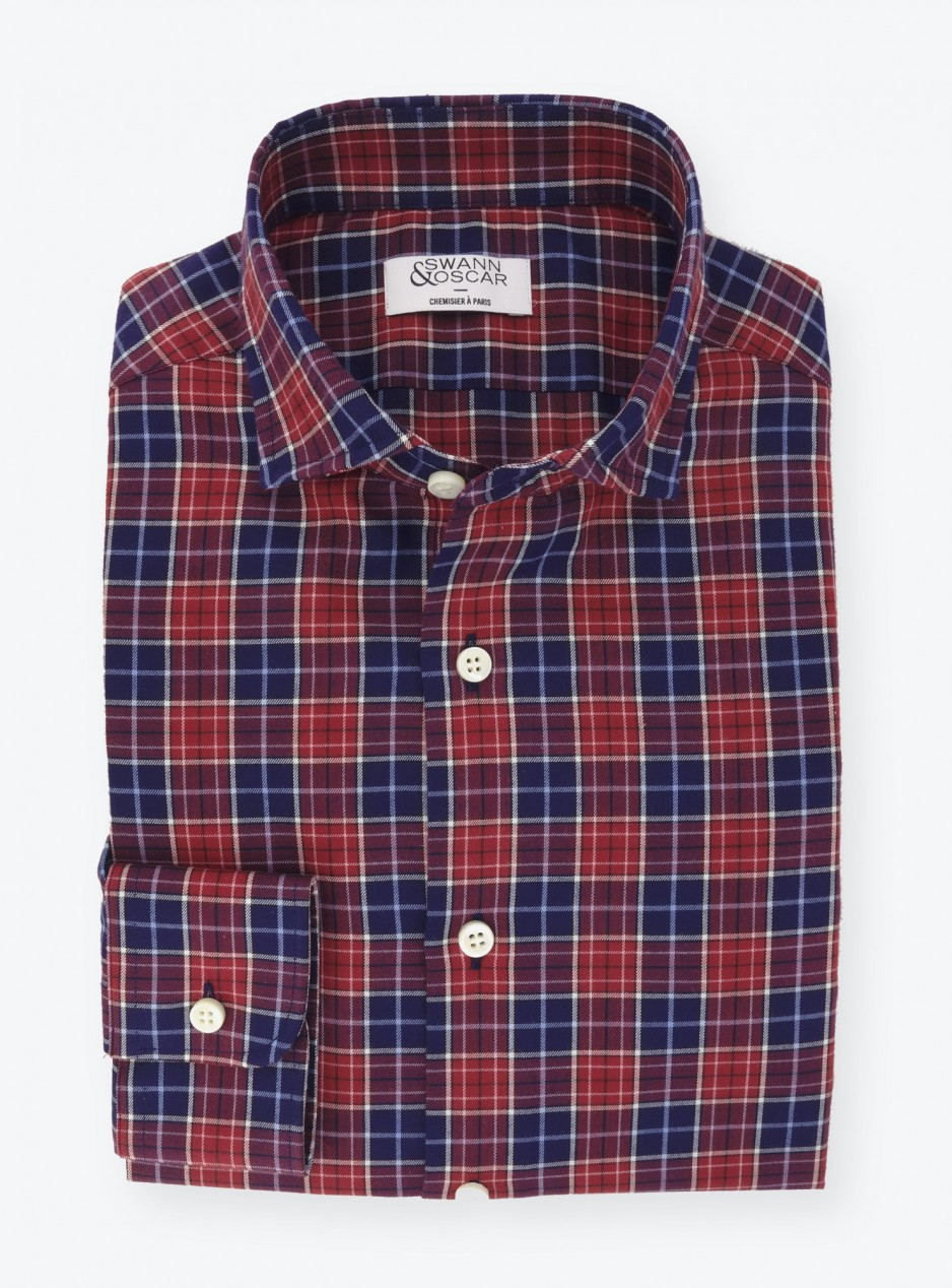 Shirt Twill Check Pattern Red Blue
