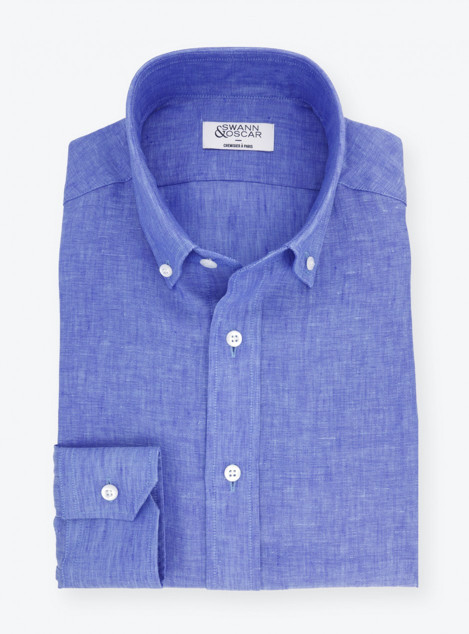 Shirt Linen Pain Blue