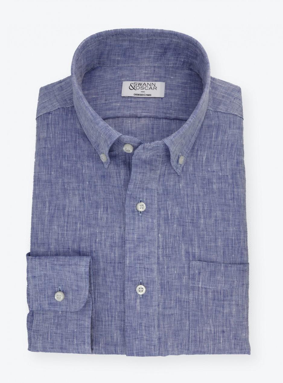Shirt Linen Plain Blue