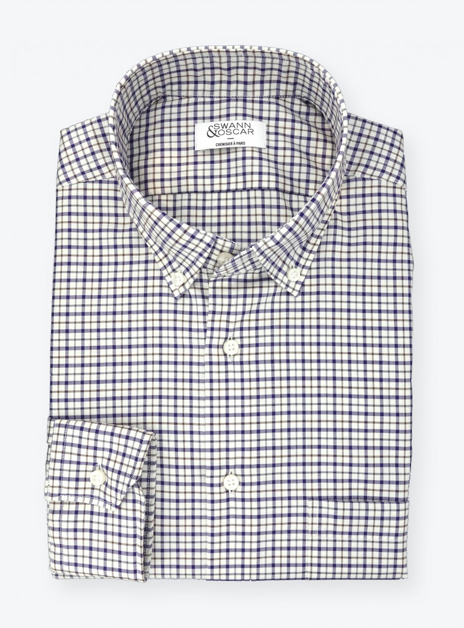 Shirt Twill Check Pattern Blue Brown