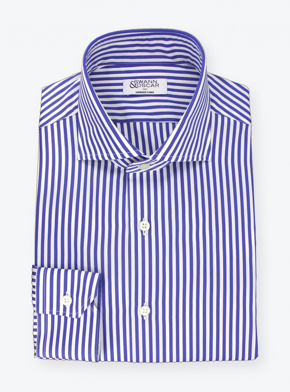 Shirt Poplin Stripes Blue