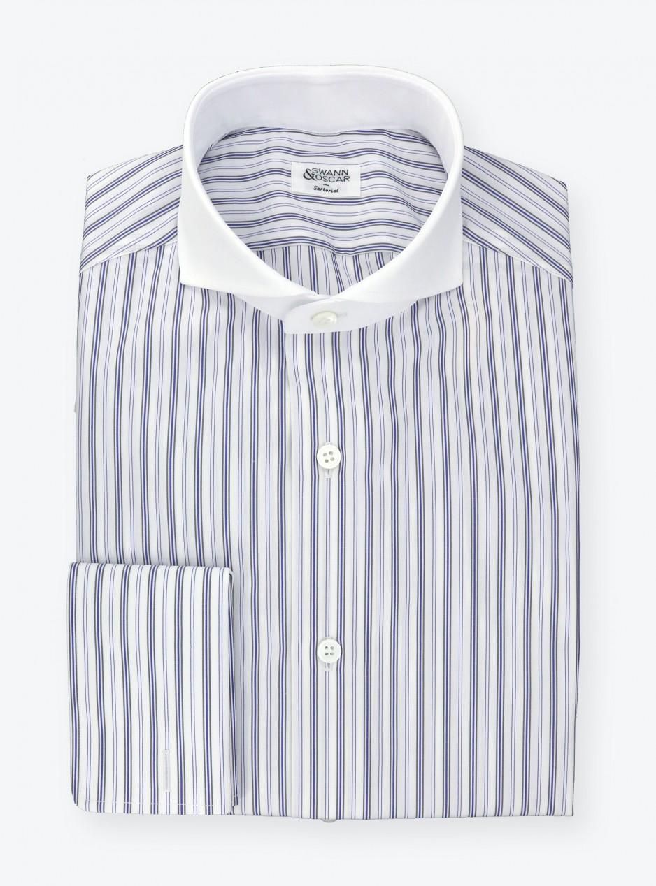 Shirt Poplin Blue Brown