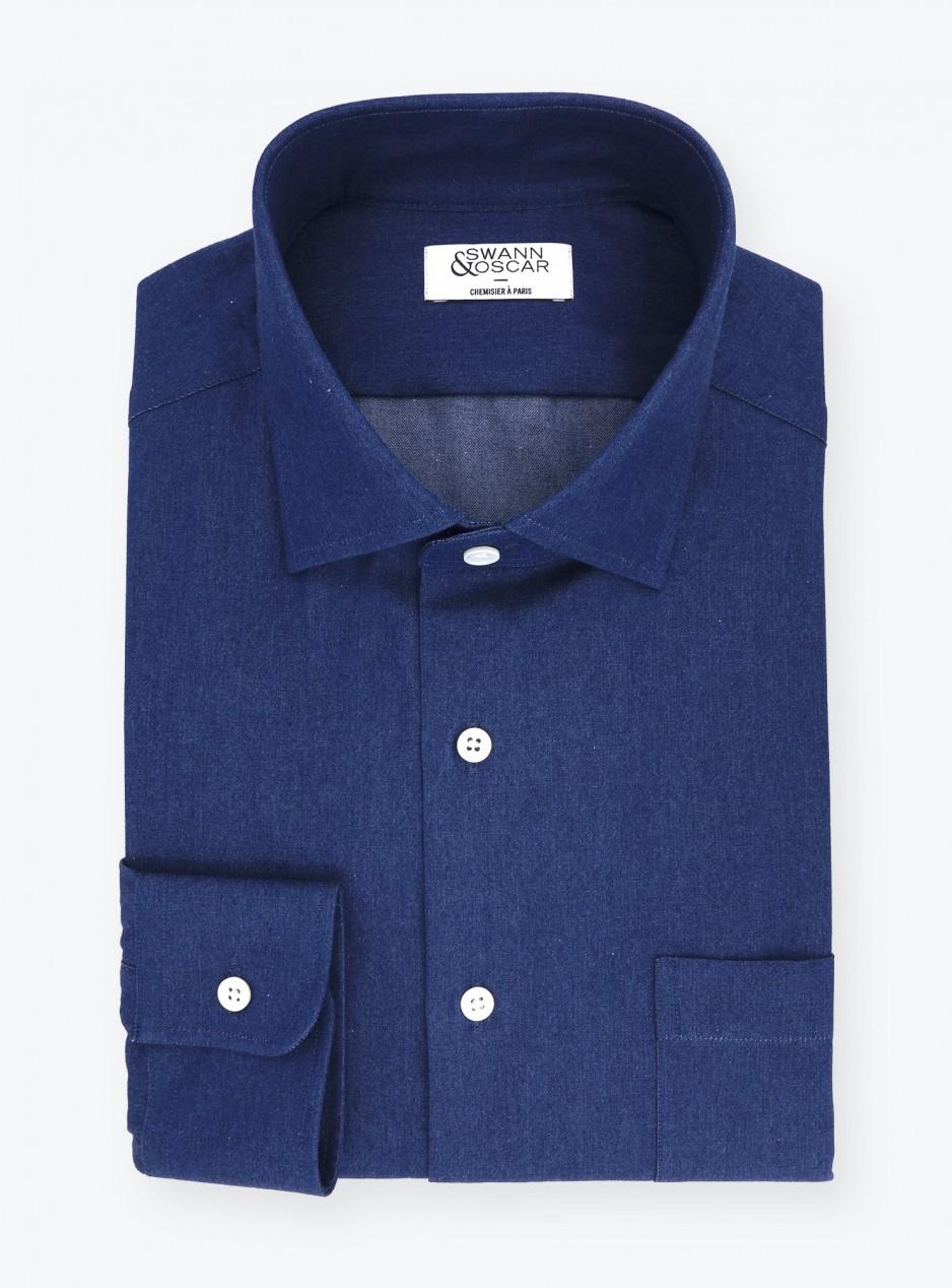 Navy Blue Denim Shirt