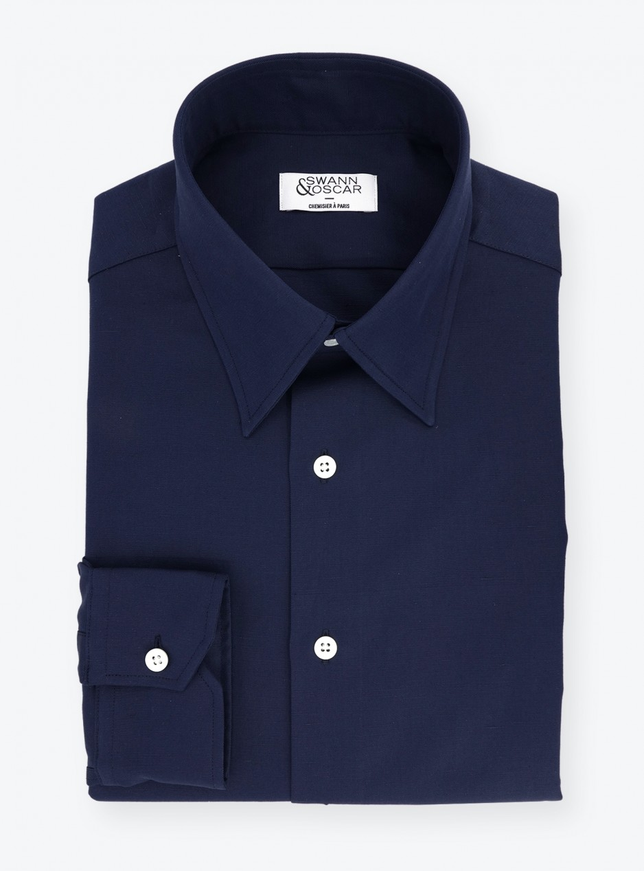 Shirt Linen Plain Blue