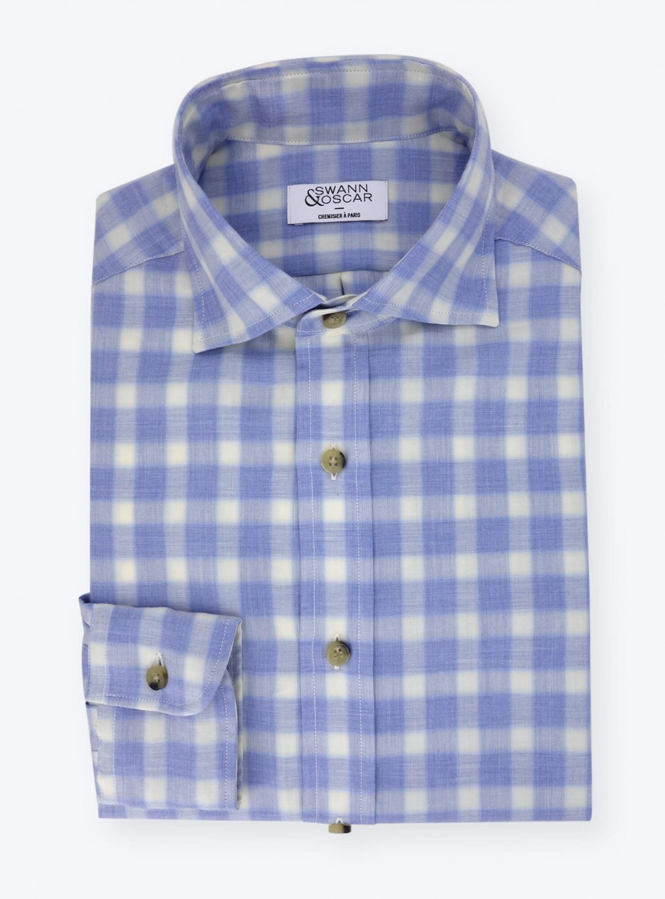 Shirt Twill Check Pattern Blue