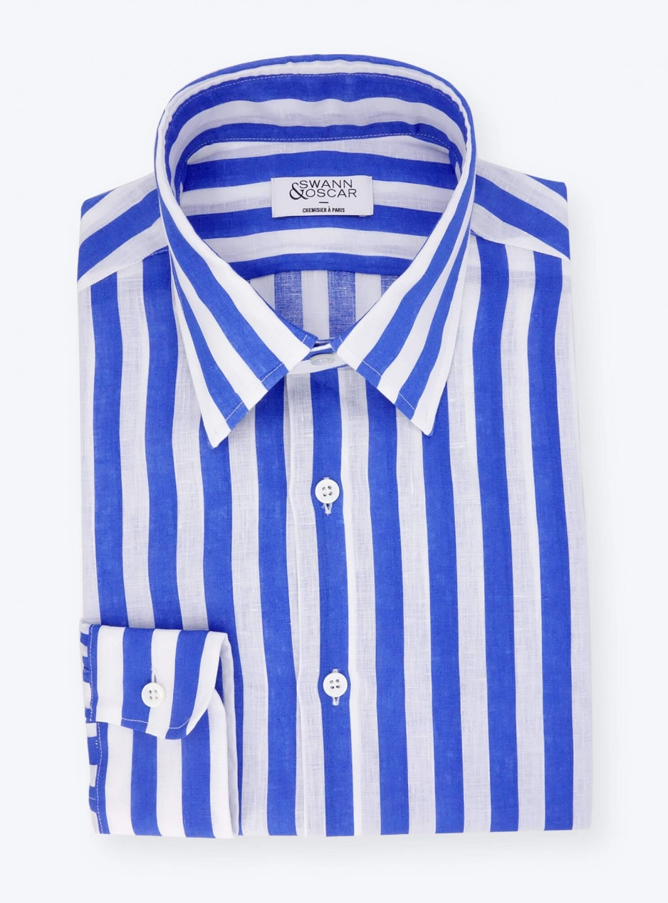 Blue Linen Butcher Stripes Shirt