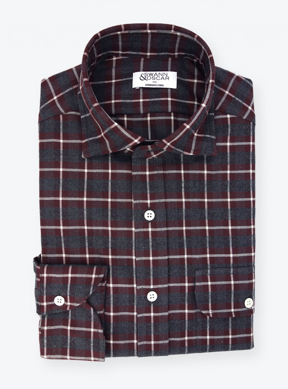 Shirt Twill Check Pattern Grey