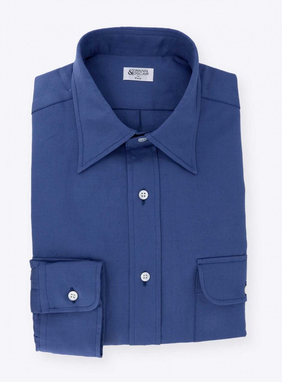 Shirt Linen Uni Blue
