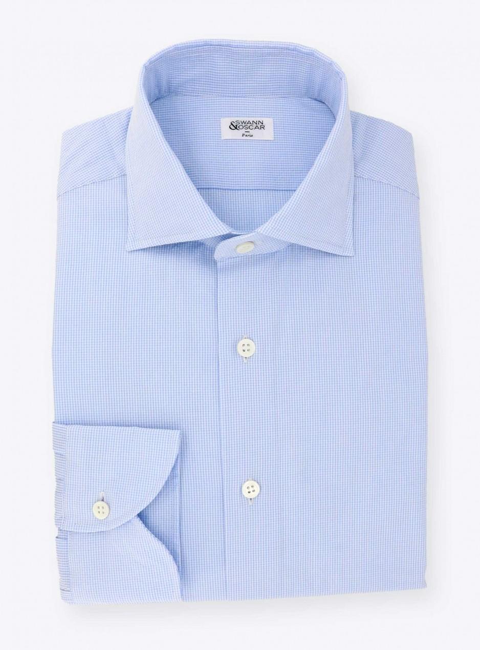 Shirt Oxford Check Pattern Blue