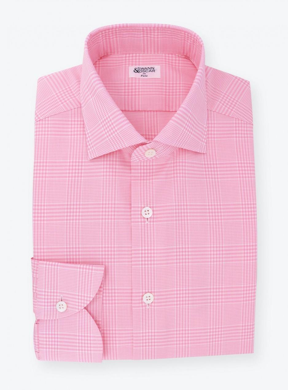 Shirt Poplin Check Pattern Pink