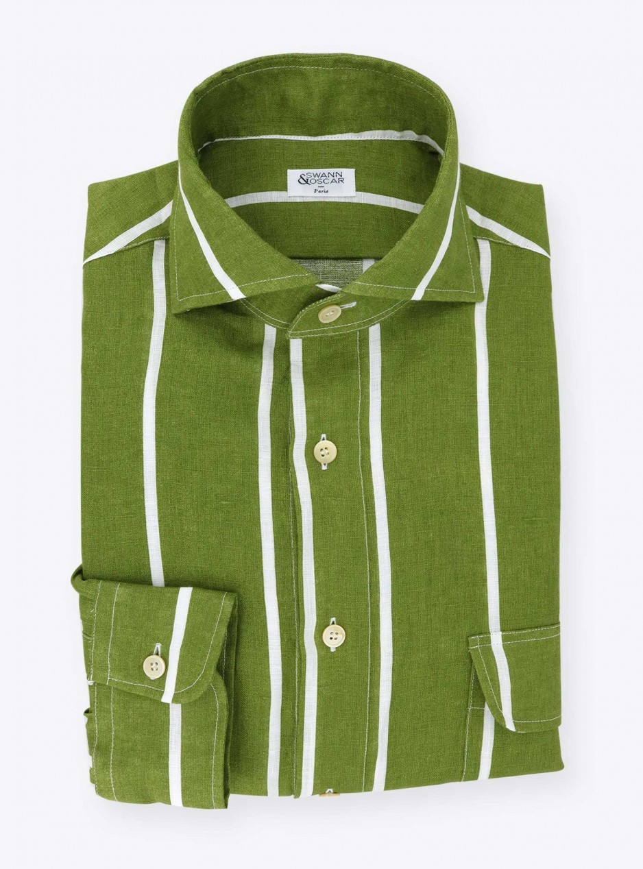 Green Stripes Linen Shirt