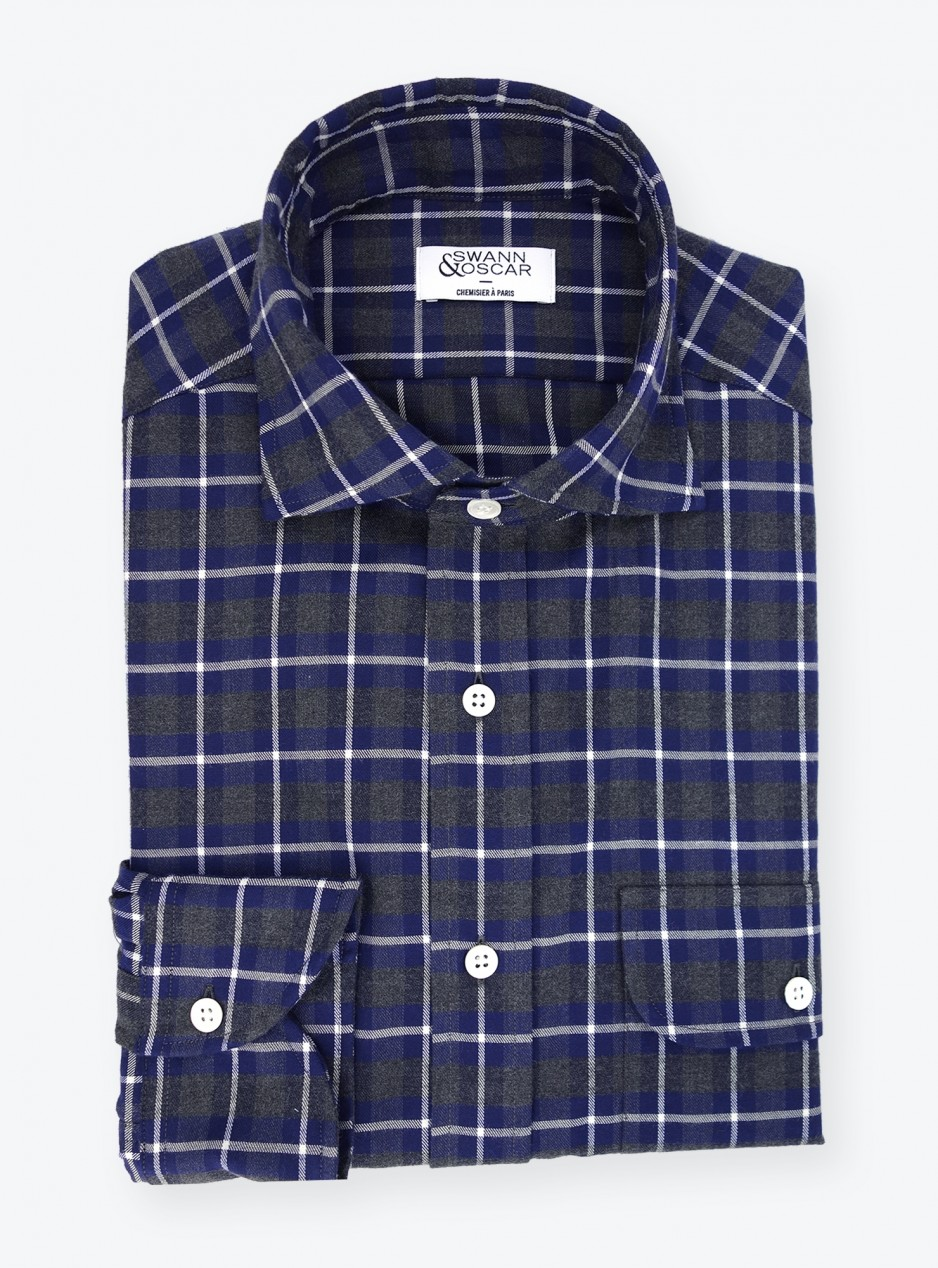 Shirt Twill Check Pattern Grey Blue