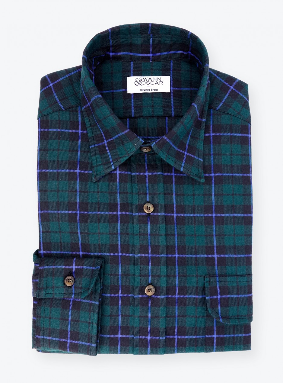 Flannel Shirt Blue Green Check Pattern