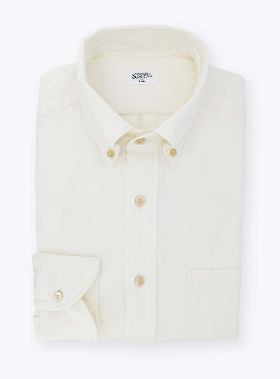 Plain Ivory Oxford Shirt