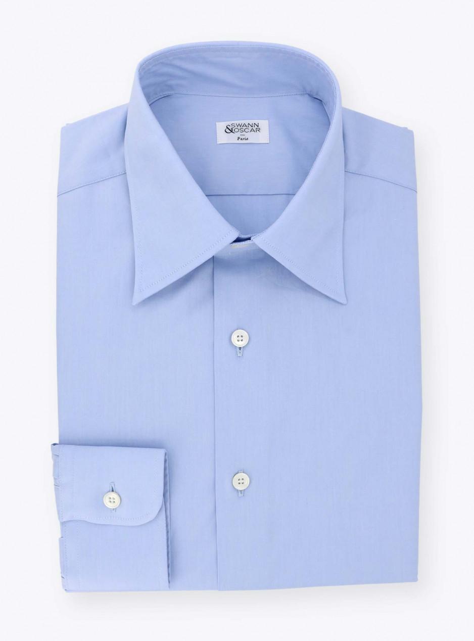Plain Blue Poplin Shirt