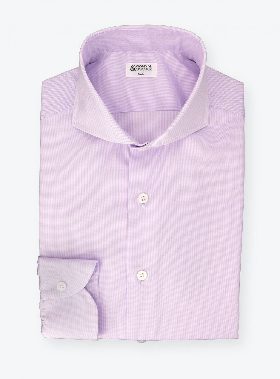 Shirt Poplin Check Pattern Mauve