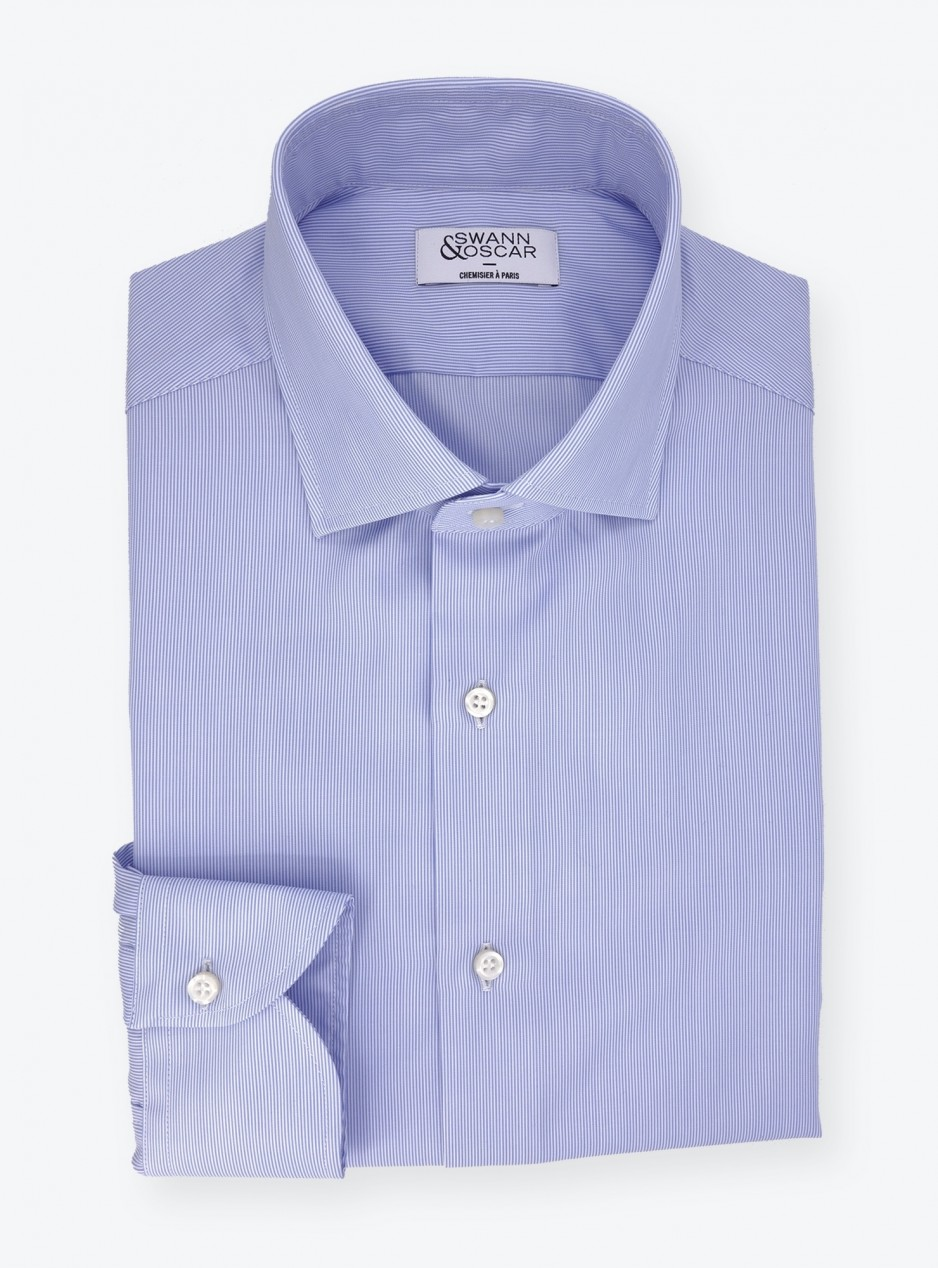 Twill Shirt Blue Stripes (easy care)