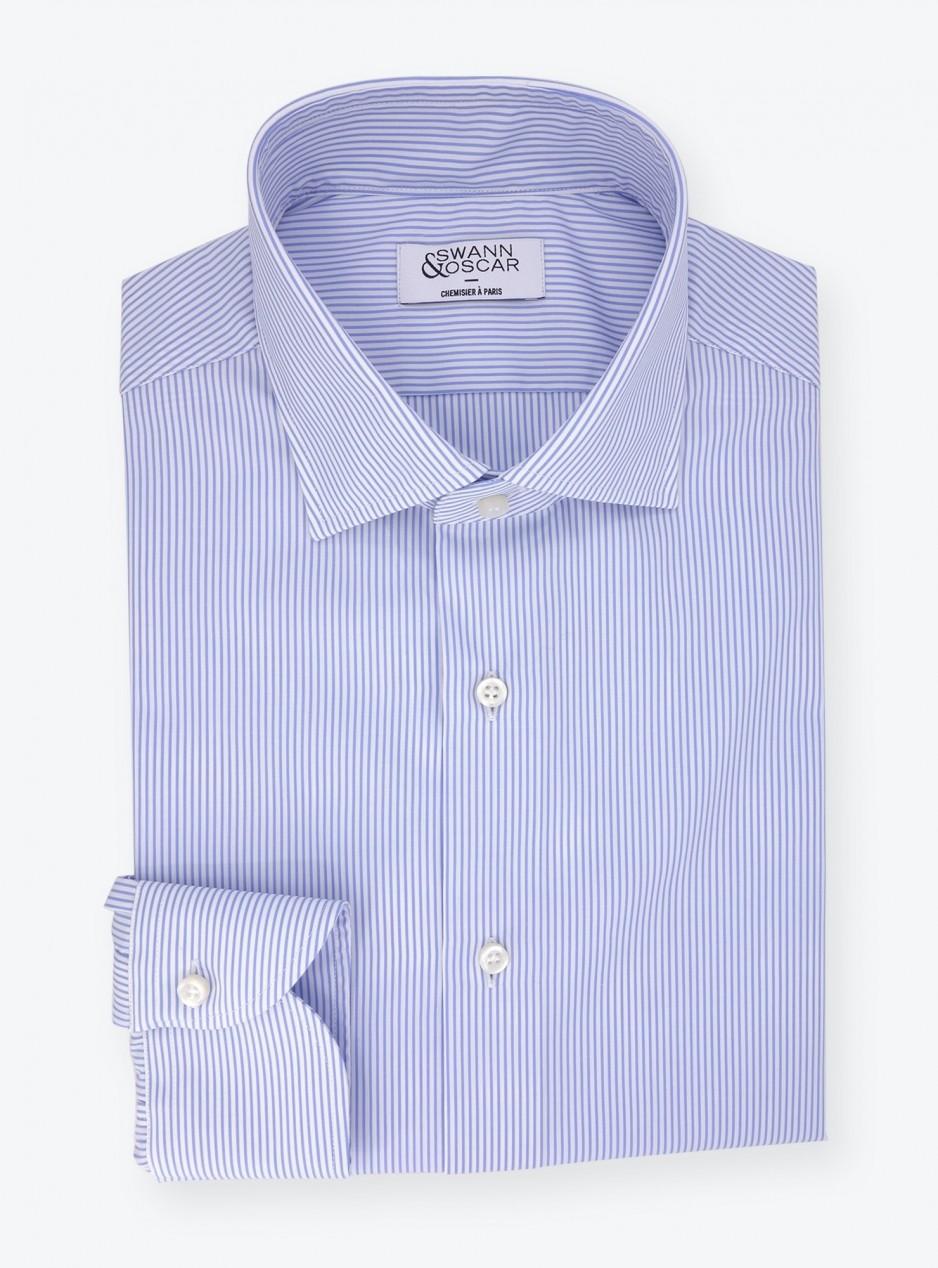 Poplin Shirt Blue Stripes (easy care)