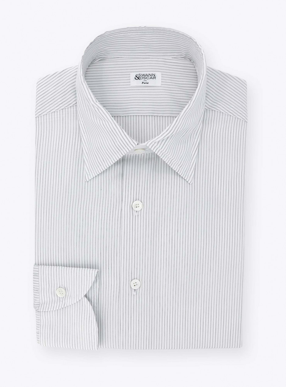 Shirt Black Stripes Poplin