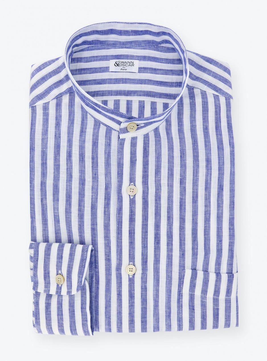 Shirt Linen Stripes Blue