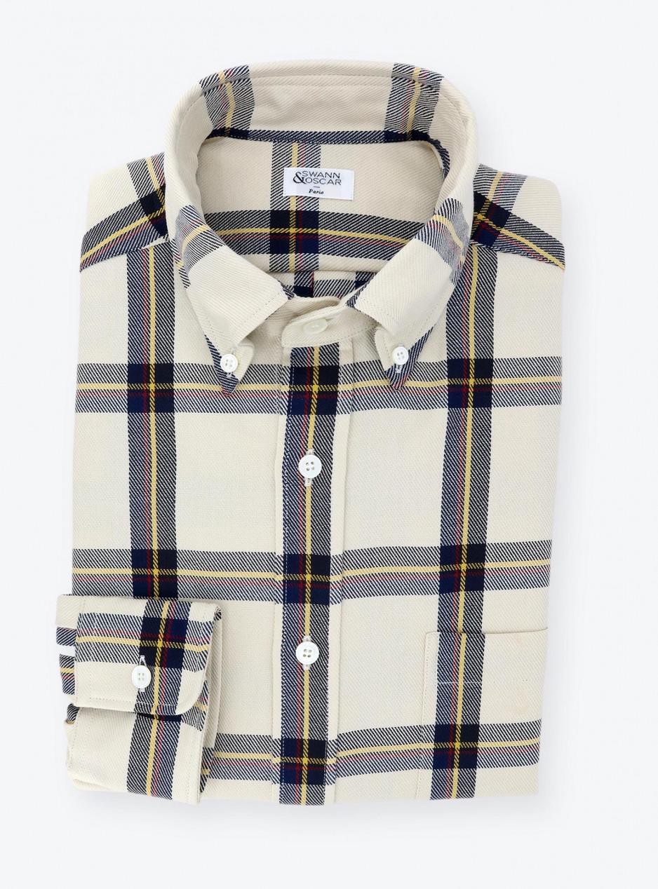Ivory and Blue Tartan Shirt