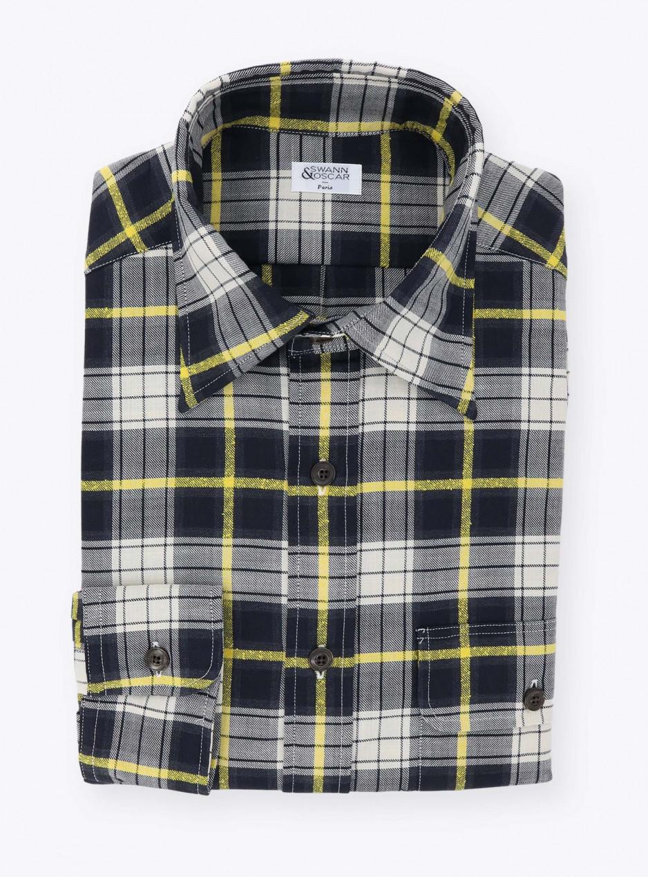 Shirt Green Yellow Check Pattern Chambray