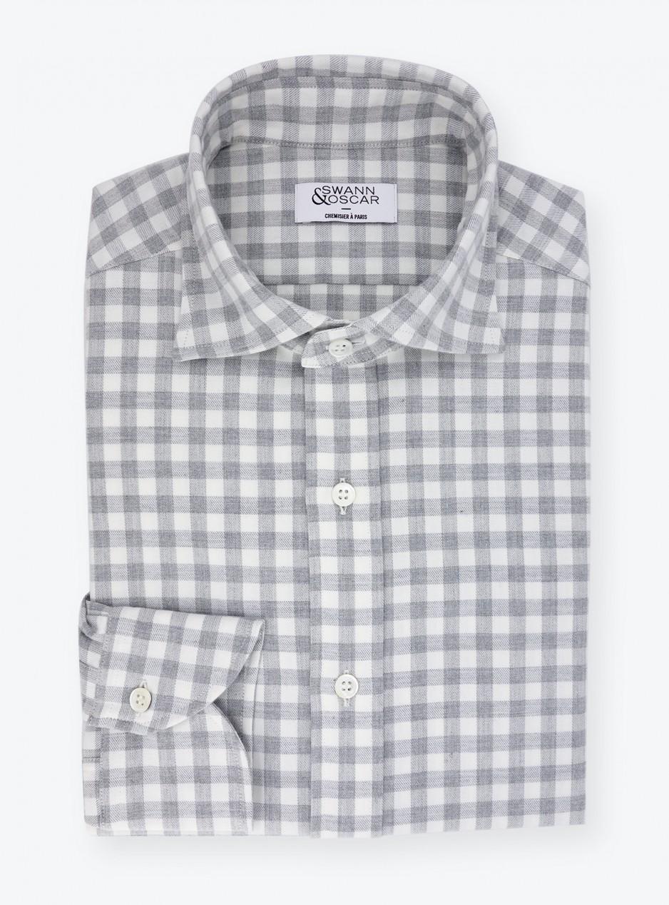 Shirt Twill Check Pattern Grey