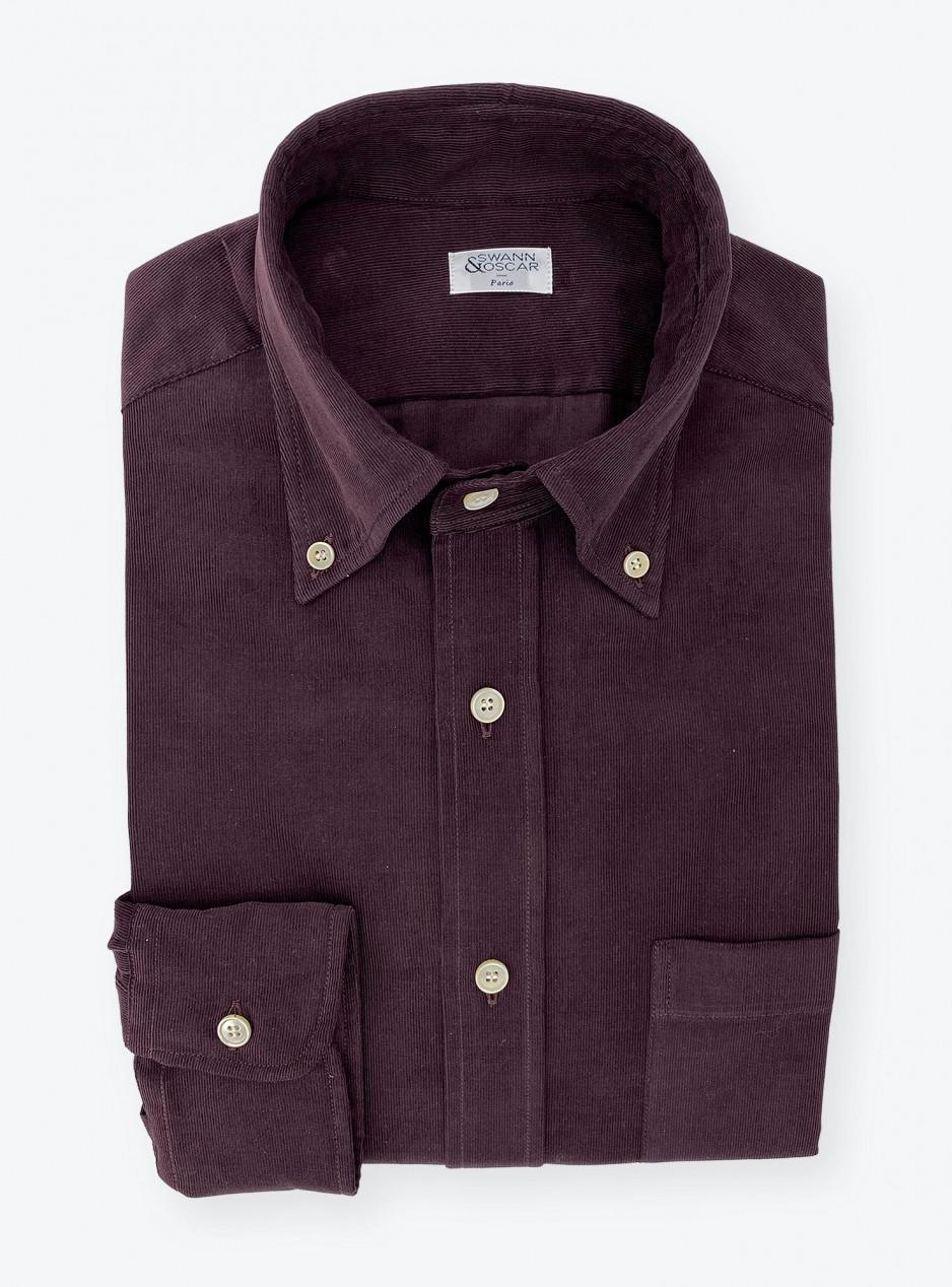 Shirt Corduroy Plain Bordeaux