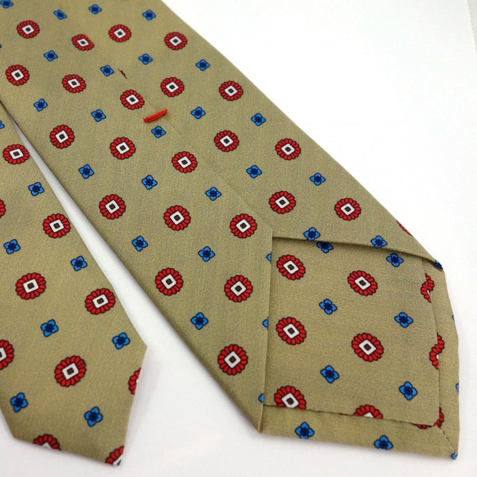 Beige Tie with Small Red and Blue Pattern Print
