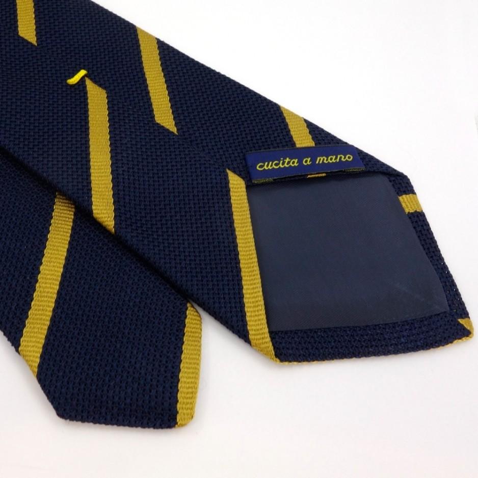Brown Silk Tie with Golden Stripes