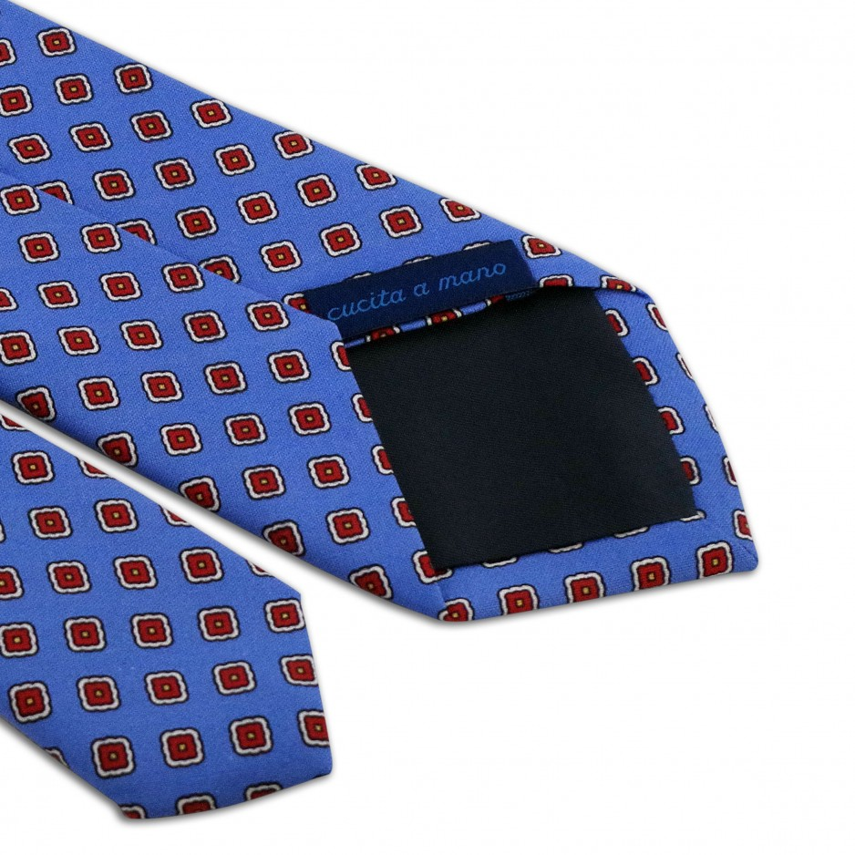 Blue Tie with Flower Patterns Red