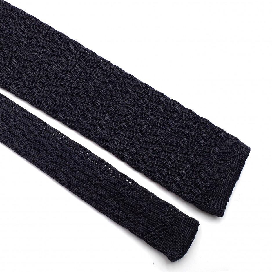 Blue Silk Grenadine Tie - Zig Zag Knitted