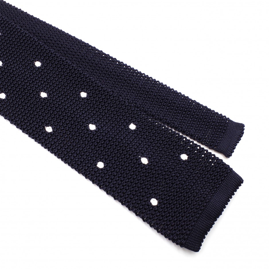 Blue Knitted Silk Tie