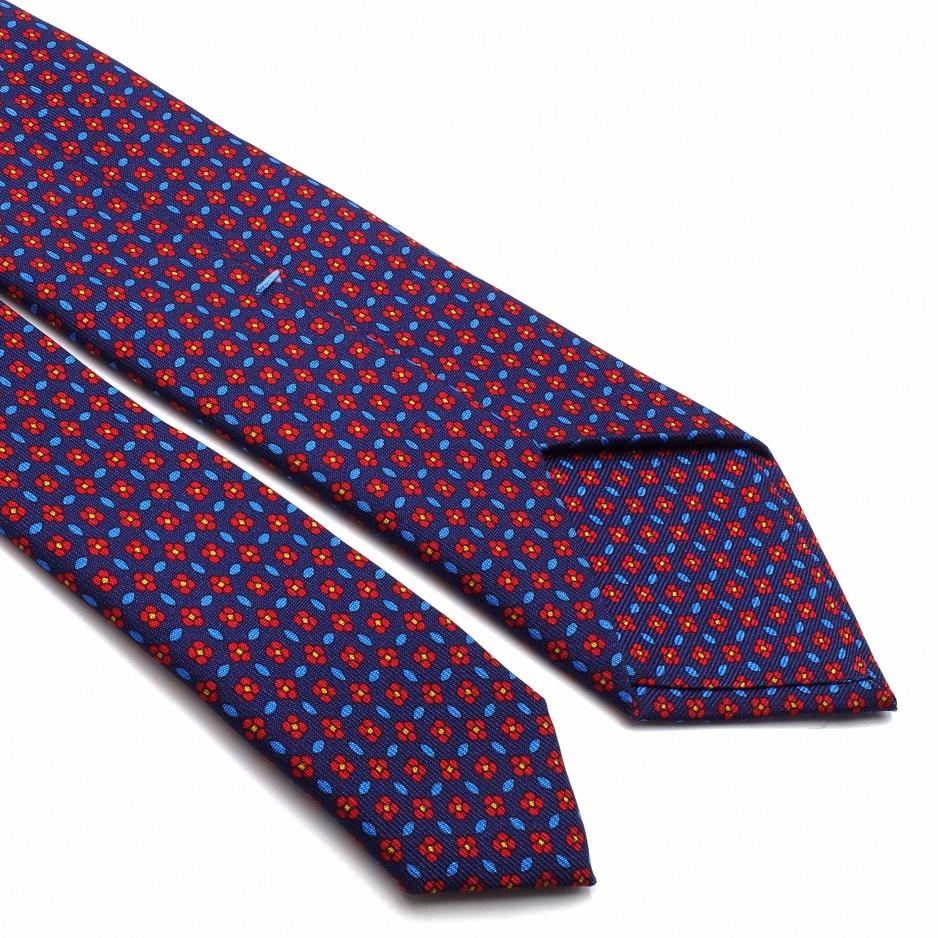 Navy Blue Tie Silk Floral Print
